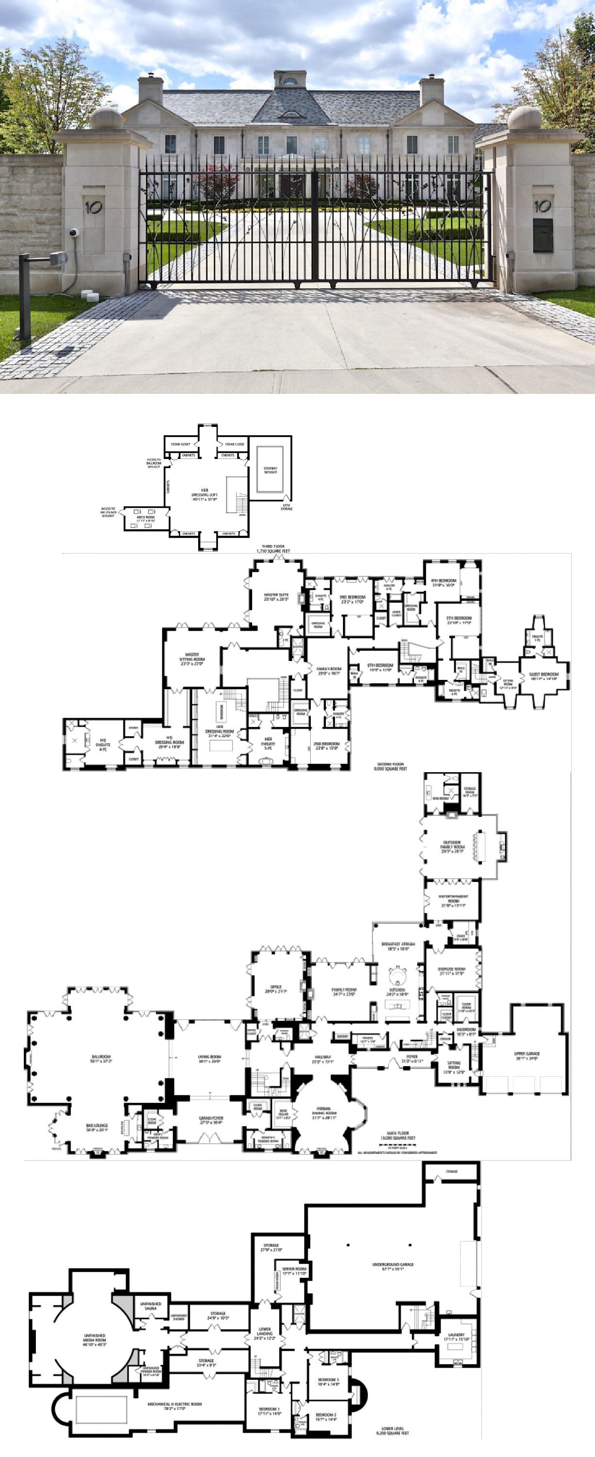 28 8 Million Newly Built 33 000 Square Foot Mega Mansion In Toronto Homes Of The Rich House Plans Mansion Mansion Floor Plan House Blueprints