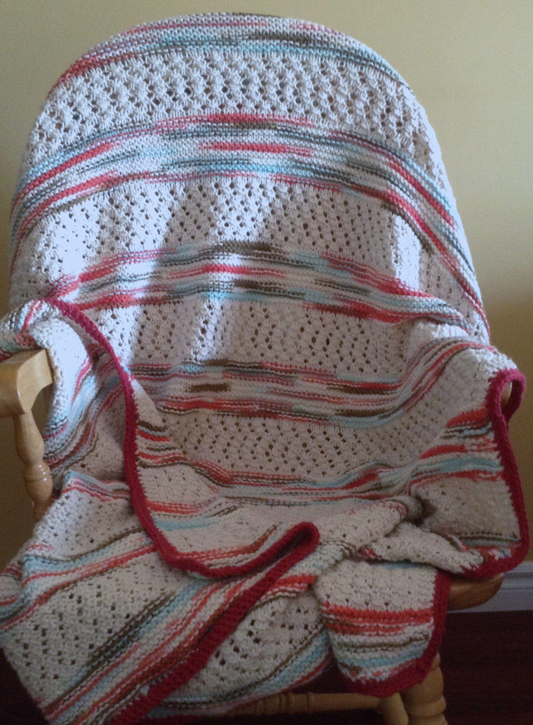 Knit Garter Stripe Blanket with crochet border. Done in Bernat ...