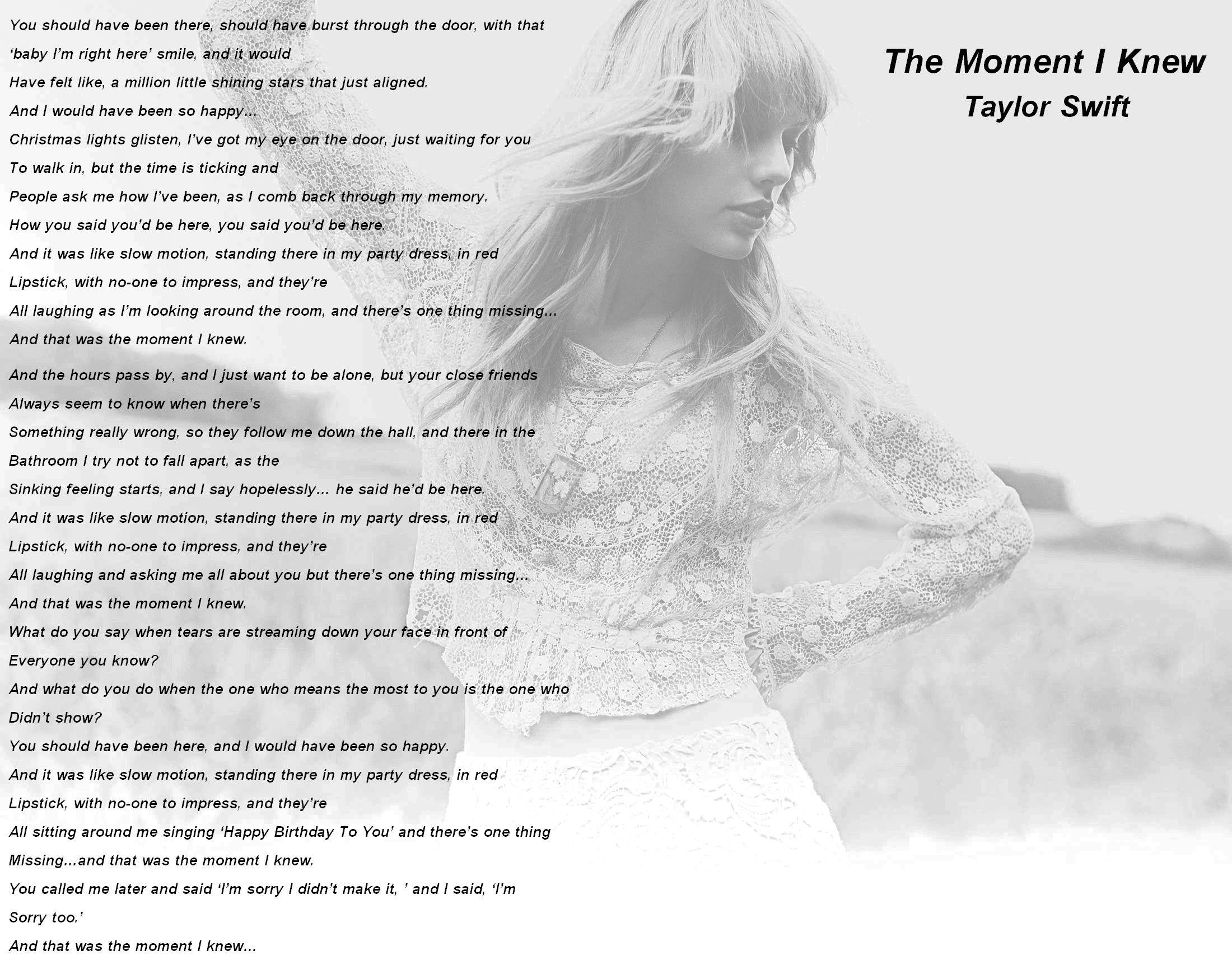 Taylor Swift – The Moment I Knew Lyrics   Genius Lyrics