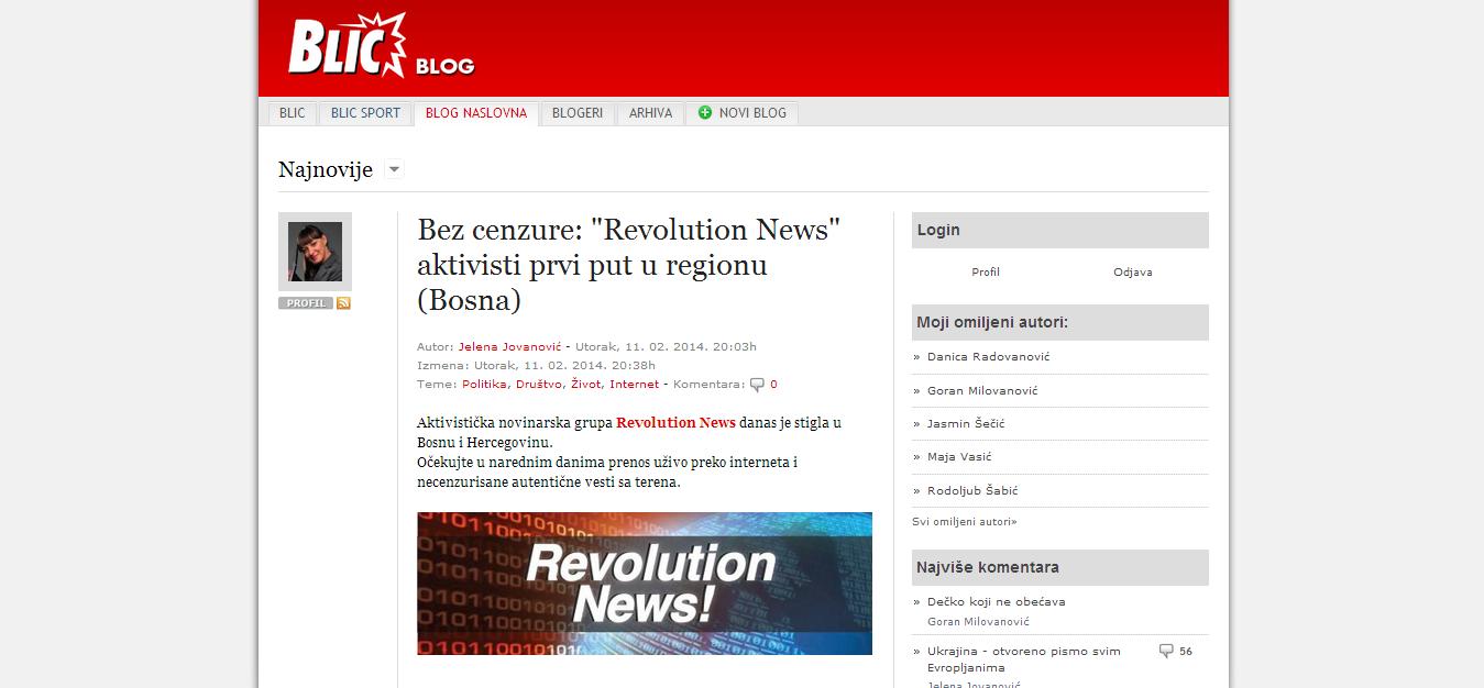 Blic blog, front page http//blog.blic.rs/1159/Bezcenzure