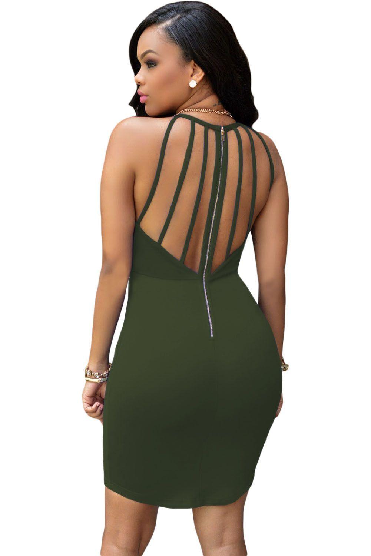 Mini Army Robes Vert Strap Retour Creux Sur Robe Pas Cher www.modebuy.com   Modebuy  Modebuy  CommeMontre  sexy  me  dress c2845225b