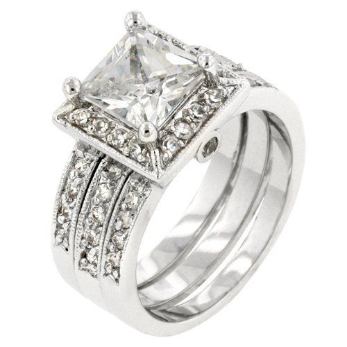 White Gold Rhodium Bonded Bridal Set Rings With A Prong Princess Cut Clear CZ Framed Bezel Round On Each Side And Channel