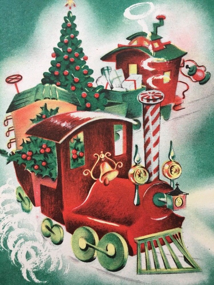 Vintage Norcross Christmas Greeting Card Train Tree Holly Presents ...