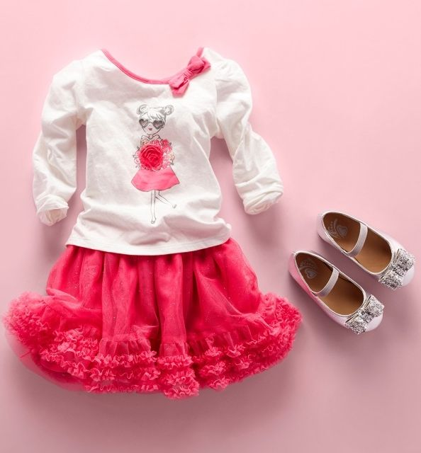 50cdb8484 Toddler girls' fashion | Kids' clothes | Sets | Embellished top | Ruffle  skirt | Glitter bow flats | The Children's Place