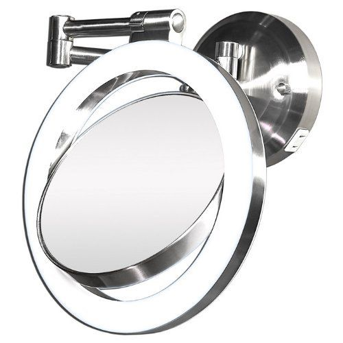 Zadro Dual Sided Lighted Magnifying Dual Jointed Swivel Wall Mount Mirror By Broo Wall Mounted Makeup Mirror Wall Mounted Magnifying Mirror Lighted Wall Mirror