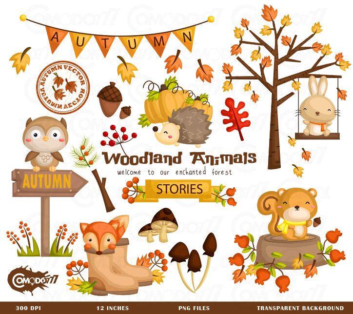 Autumn Season Animal Clipart Cute Animal Clip Art Seasonal Etsy Autumn Animals Animal Clipart Clip Art