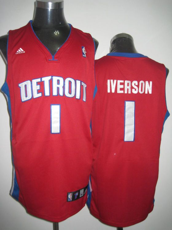 online retailer 49be6 e4aff Adidas NBA Detroit Pistons 1 Allen Iverson Red Swingman ...