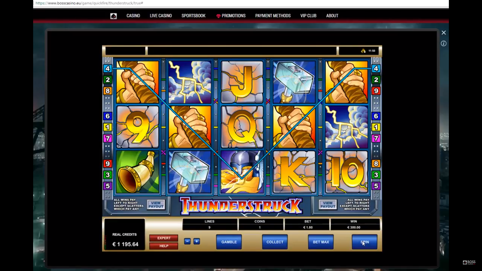 Thunderstruck online slot by Microgaming. Mega big win