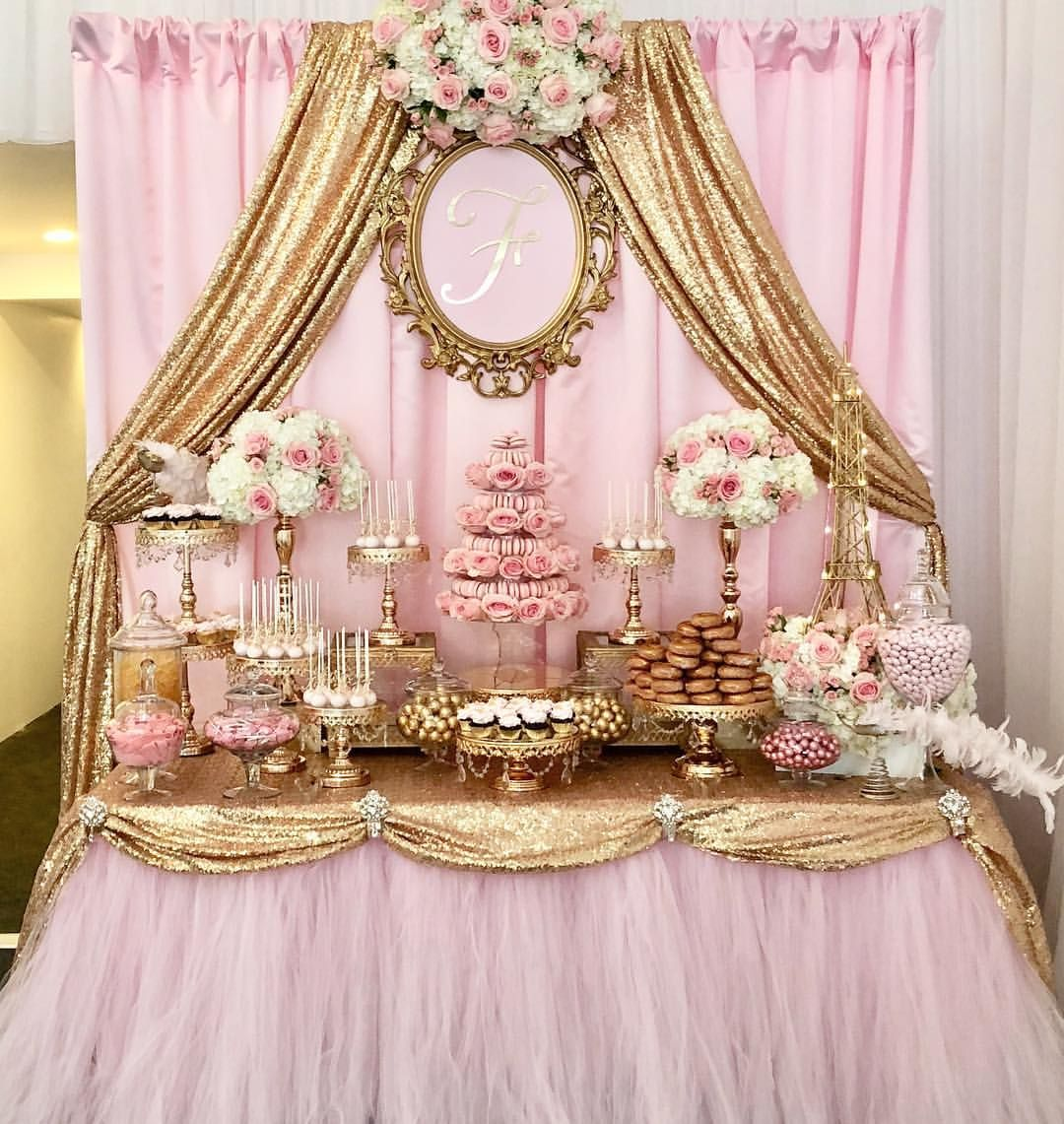 Paris theme Sweet 16 event at the Palace Banquet Hall in San Pedro by @kis.events. Candy Dessert Table by @bizziebeecreations and macaroons… #fiestade15años