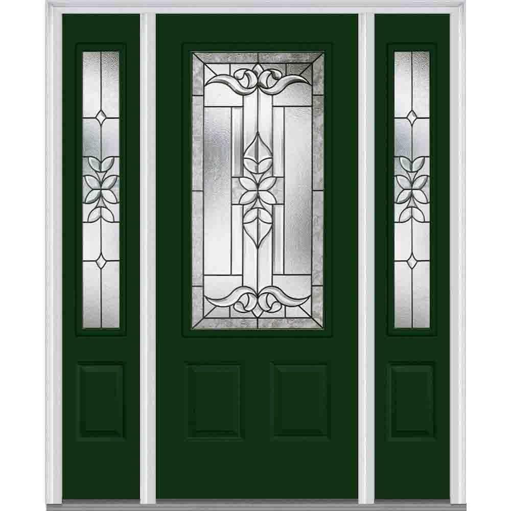 Mmi Door 64 In X 80 In Cadence Left Hand 3 4 Lite 2 Panel Classic Painted Steel Prehung Front Door With Sidelites Z006320l The Home Depot Entry Doors With Glass Steel Doors Exterior Glass Decor
