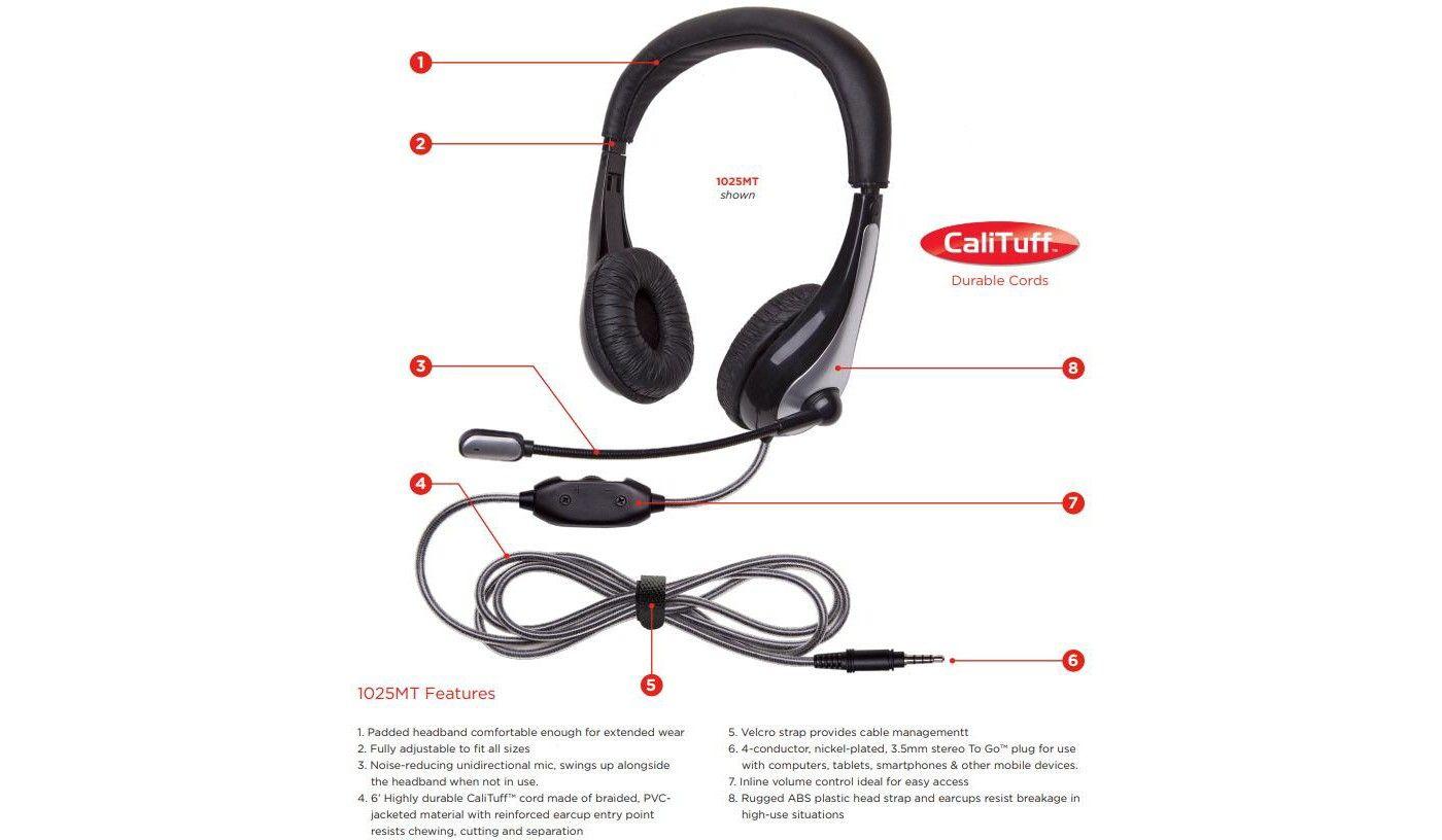 Califone Mt Neotech Headset With Gooseneck Microphone