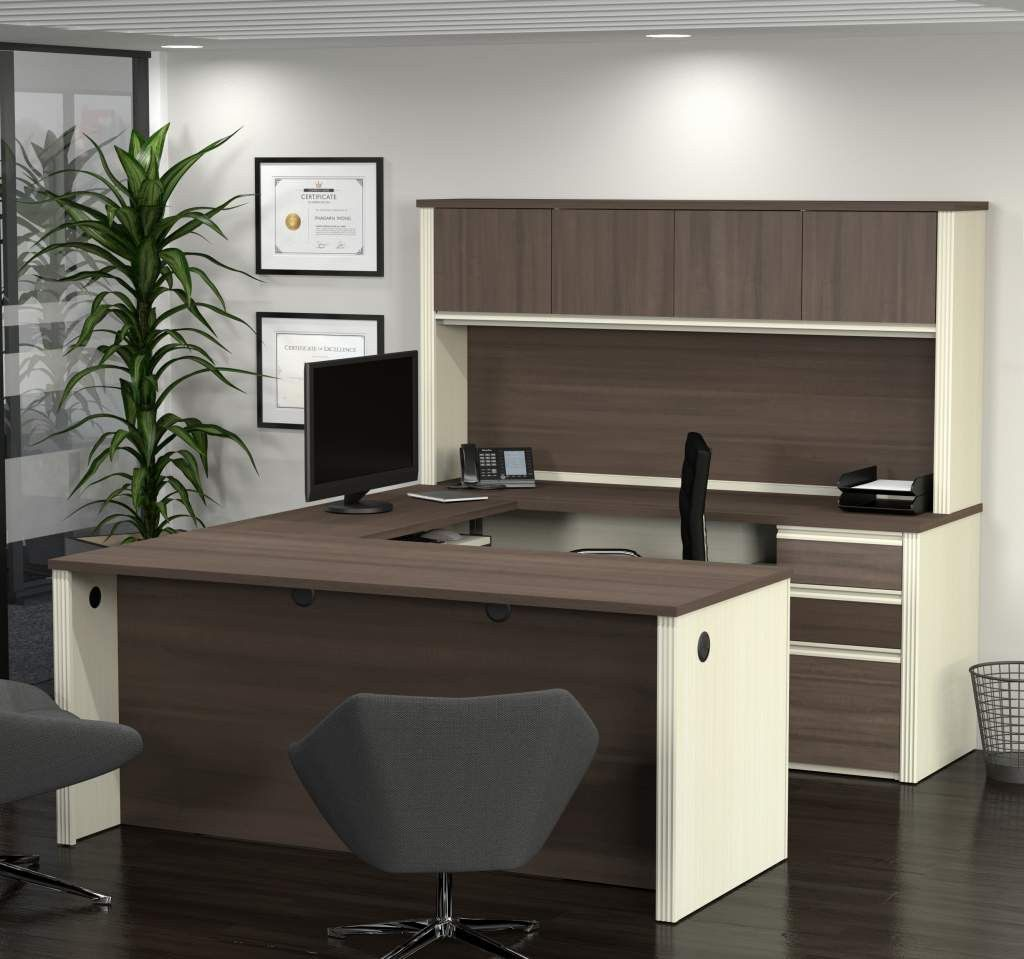 u shaped desk and hutch in white chocolate antigua antigua desks and products. Black Bedroom Furniture Sets. Home Design Ideas