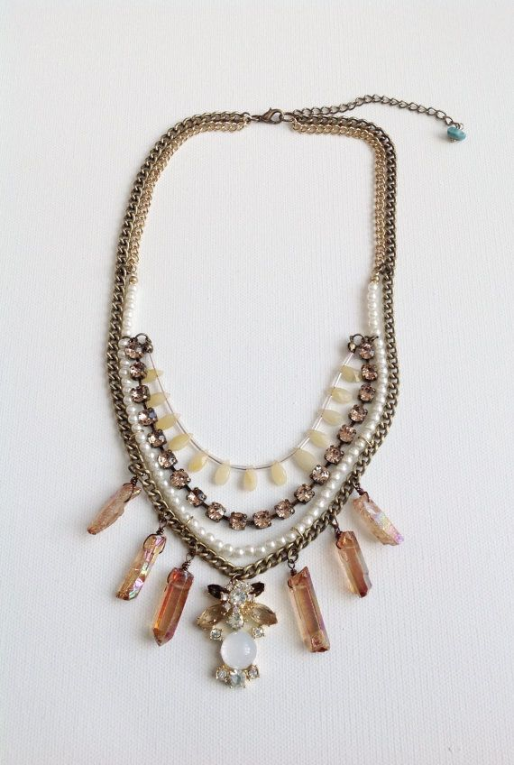 "Semiprecious Glass Acrylic Mix Statement Necklace 18"" +3"" extender"