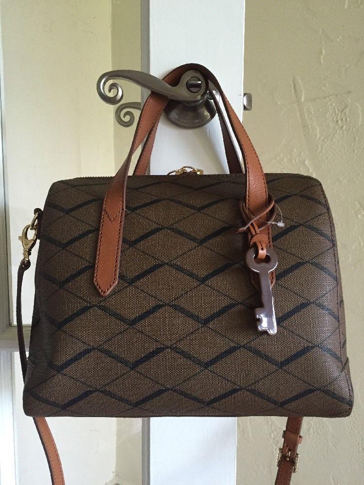 Fossil Sydney Satchel Brown Zb5490 Pvc Leather Ebay Handbags Handbag