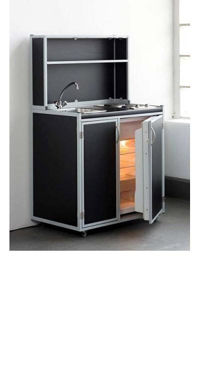 Systeme für kleine Küchen Mobile Küche im Flight-Case Black - bar für küche