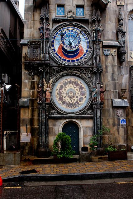 Praha Castle, Hongdae, Seoul, South Korea | Flickr ~~ I first encountered the Prague Astronomical Clock back in college when I was doing my research on the history of timekeeping devices.