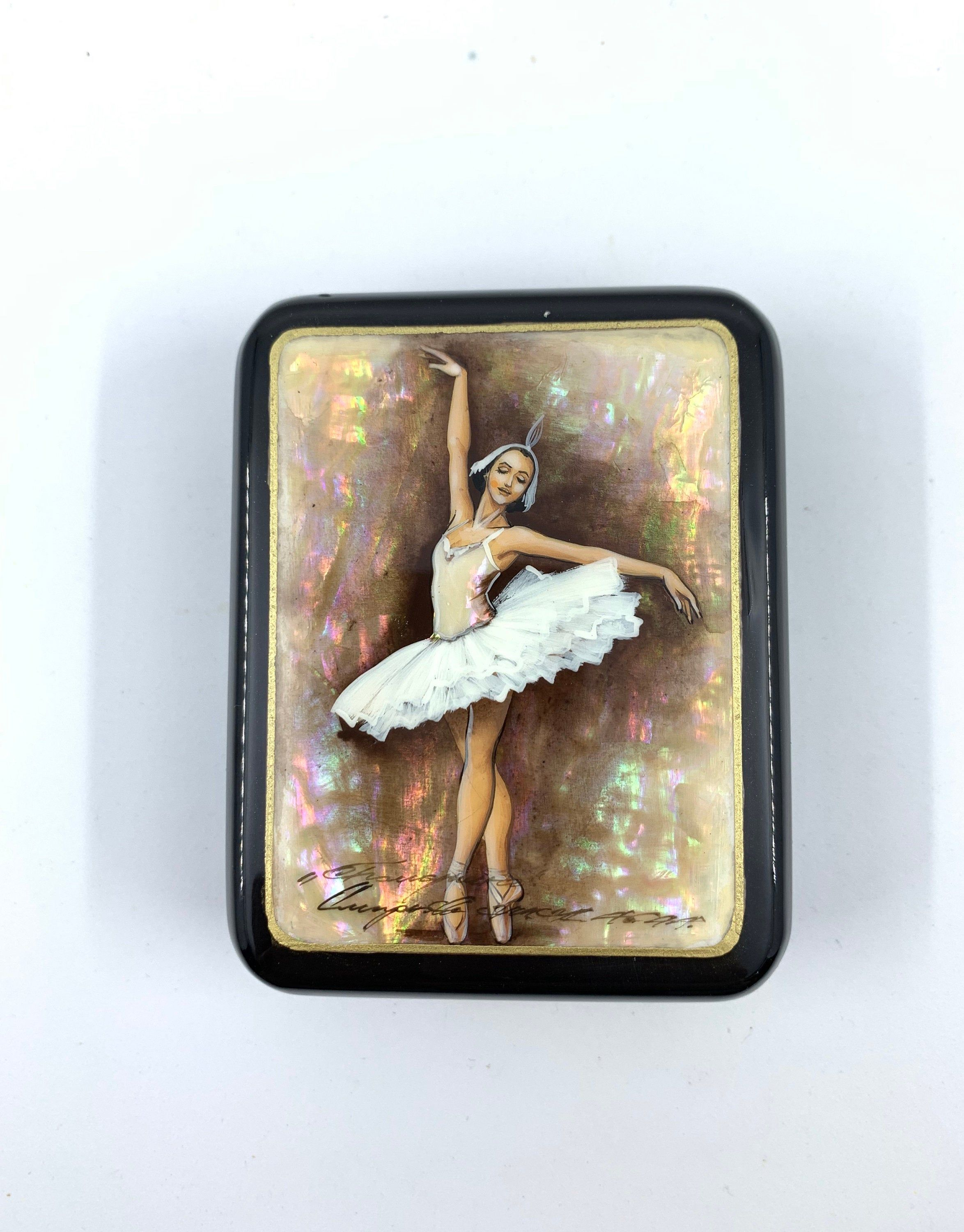 Russian Lacquer Mother of Pearl Box  Ballerina