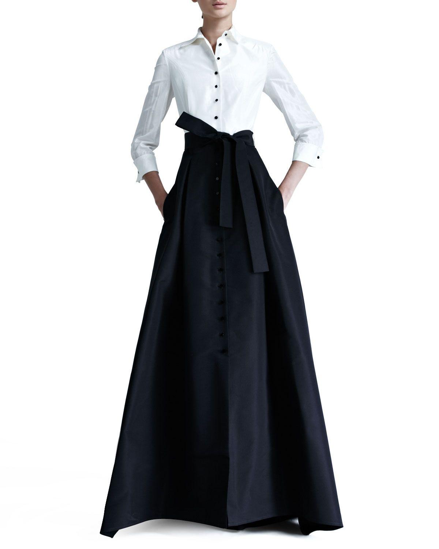 Button Black Ball Gown Taffeta