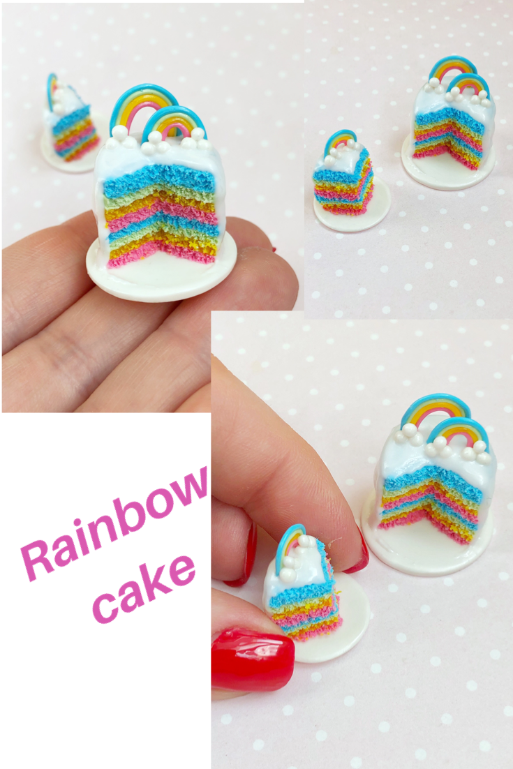 Miniature food for dollhouse fake rainbow cake with one | Etsy #dollcare