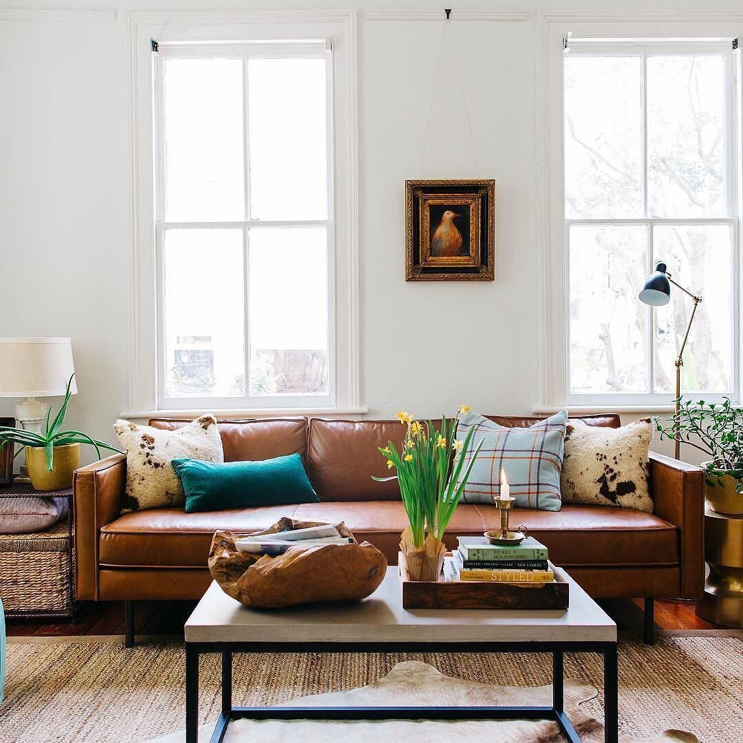 Our Axel Leather Sofa looking quite dapper in @thepennyandthepearl\'s ...