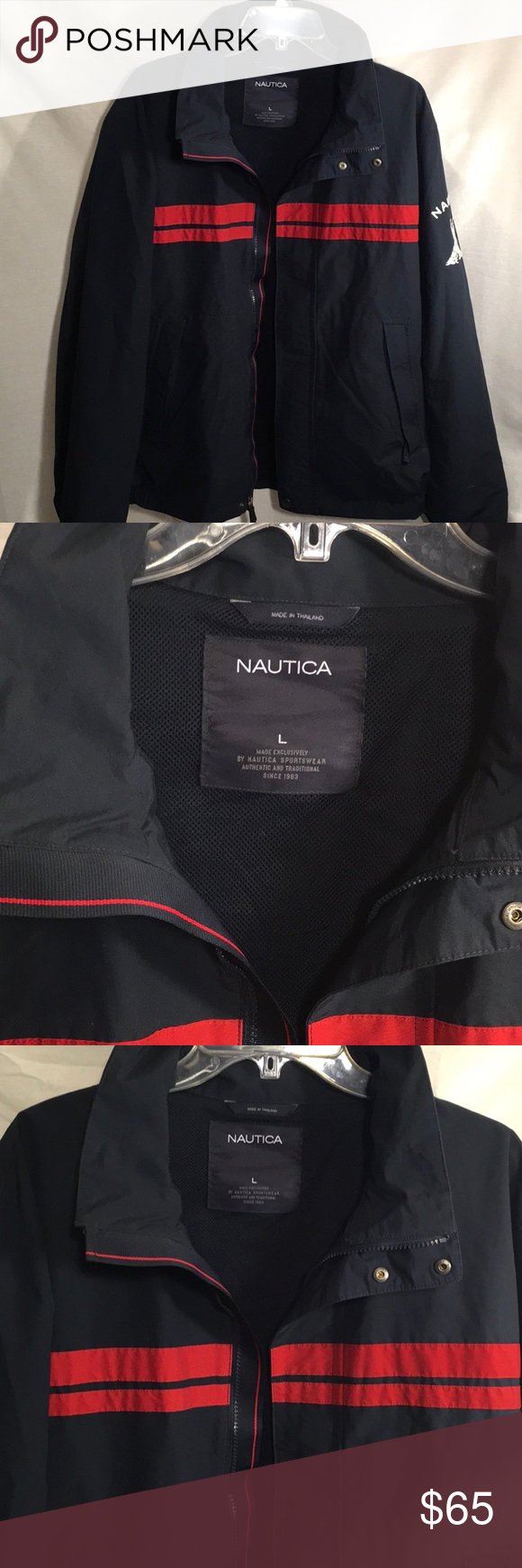 Unisex Nautica L Blue W Red Stripes Logo Jacket Trending Dark Blue Nautica Jacket Men S L Women S 2x Double Red Windbreaker Jackets Clothes Design [ 1740 x 580 Pixel ]