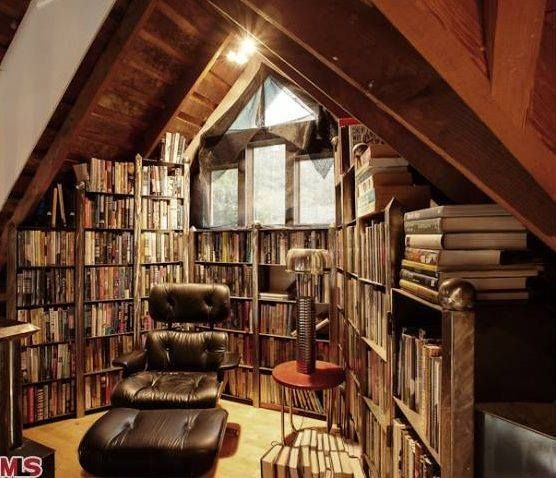 A Perfect Attic Reading Nook Home Library Design Home Libraries Attic Library