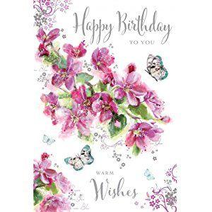 Greeting Card (JJ9470) - Female Birthday - Happy Birthday To You - Blossom - Flittered Finish