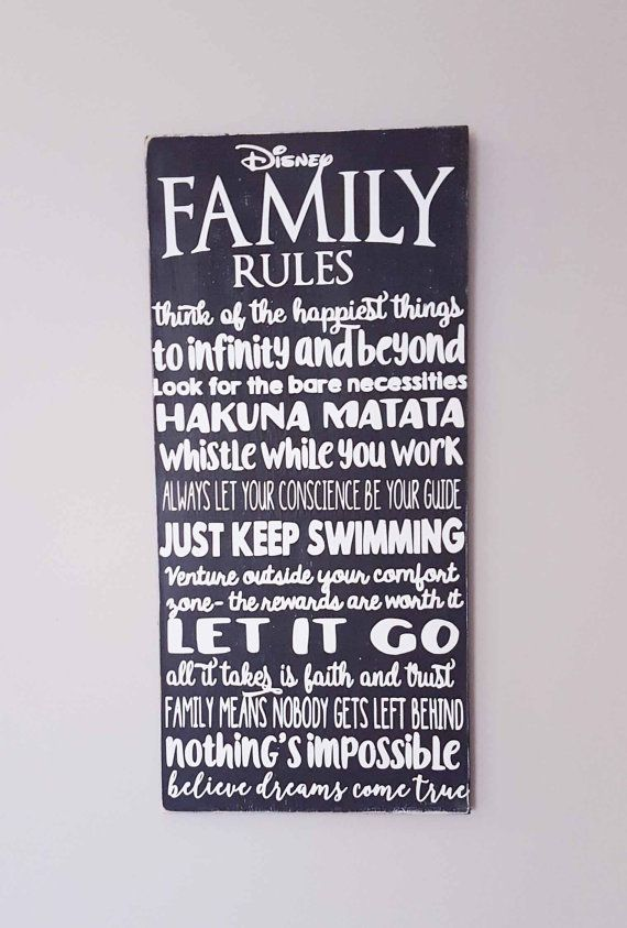disney family rules wood sign we do disney movie quotes