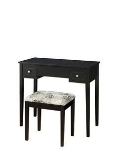Linon Home Decor Vanity Set With Butterfly Bench Black Vanities
