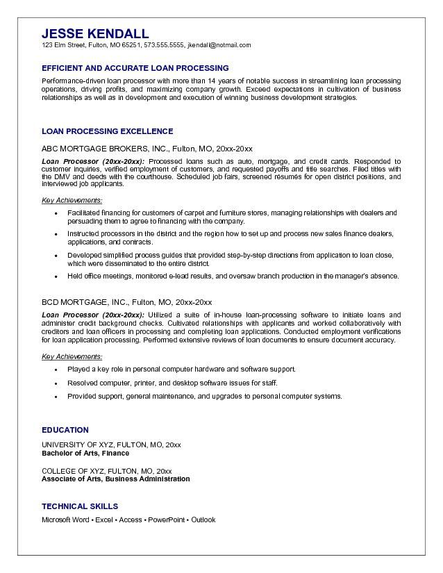 Mortgage Loan Processor Resume Example RESUME SAMPLES