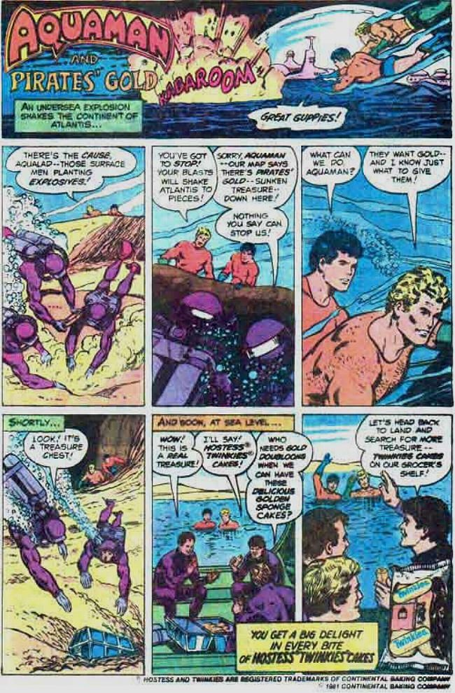 Aquaman and Pirate's Gold // Hostess Twinkies Ad // Comic book advertising.