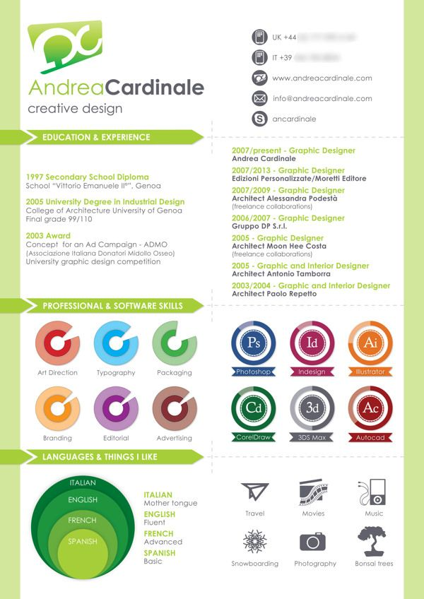 Infographic Curriculum By Andrea Cardinale Via Behance Graphic Design Resume Resume Design Creative Graphic Design Resumes