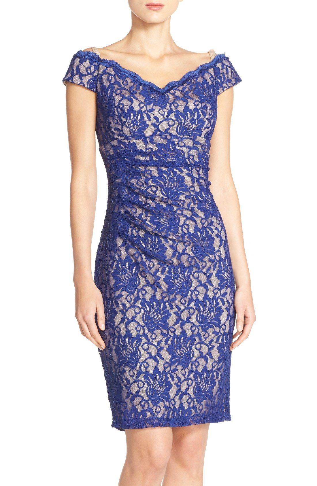 Xscape Off the Shoulder Lace Sheath Dress | pattern 2, the pencil ...