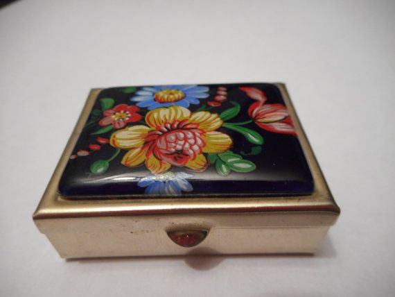 Small Pill Boxes Decorative Vintage French Small Decorative Metal & Porcelain Pill Box