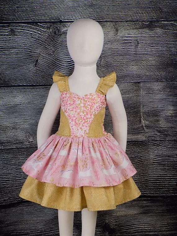 63395f0faaf15 Unicorn Dress, Pink, Gold, Party, Fancy, Birthday, Toddler, Photo ...
