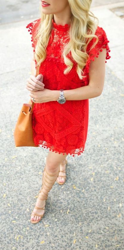 889328a968c9 Red pom pom dress