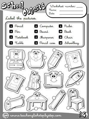 School Objects Worksheet 1 B W Version English Lessons English Worksheets For Kindergarten School Worksheets
