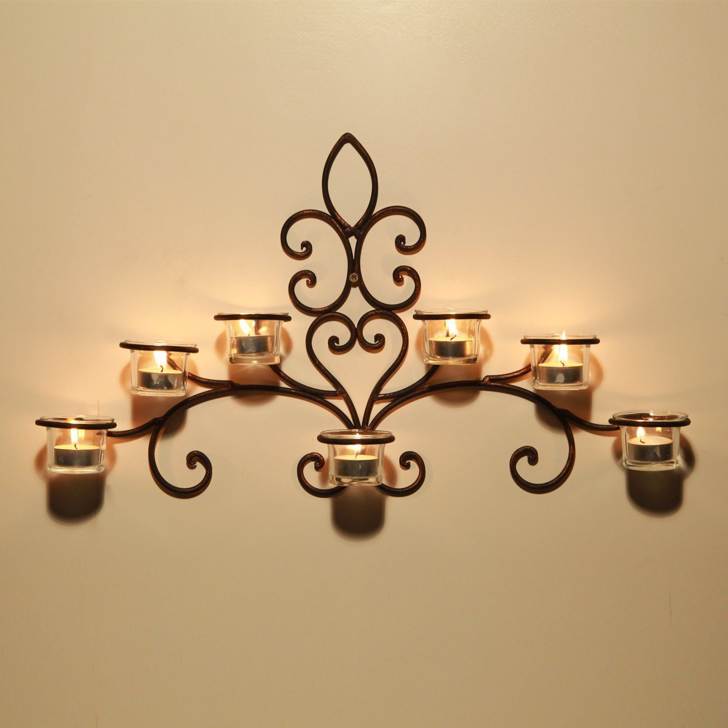 Adeco iron and glass horizontal wallhanging light scrolled candle