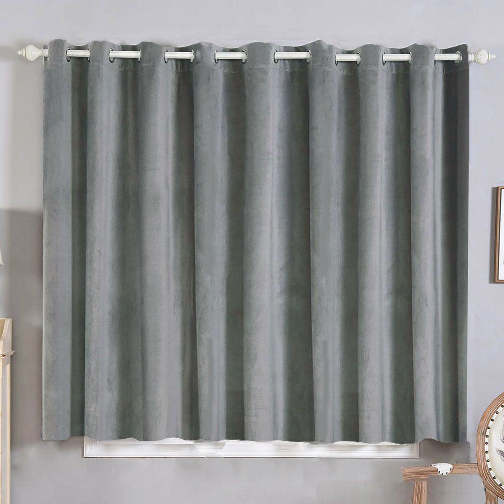 Silver Grommet Blackout Curtains Pack Of 2 52 X 64 Inch Long