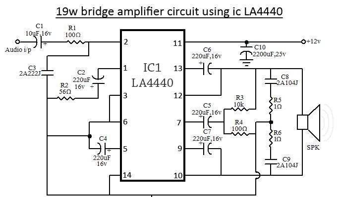 La4440 Amplifier Circuit La4440 Bridge Amplifier Circuit Diagram