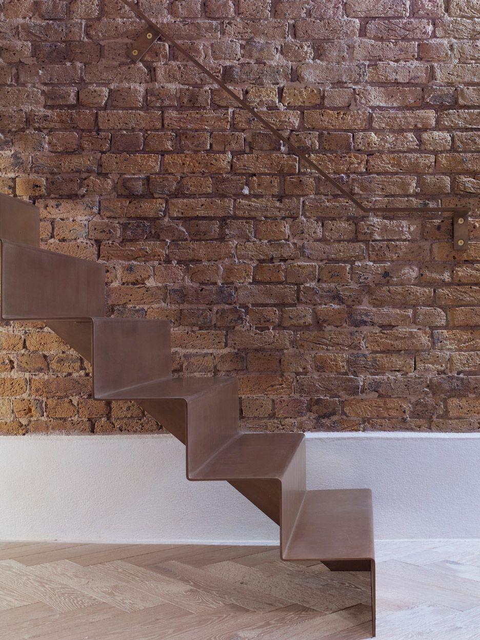 Best Bell Phillips Installs Folded Steel Staircase Inside 640 x 480