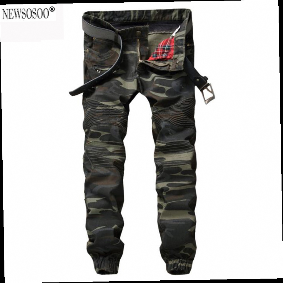 47.81$  Watch now - http://alilx5.worldwells.pw/go.php?t=32784890584 - Newsosoo Brand Ripped Biker Jeans Men's camouflage ankle banded biker jeans Fashion Skinny Pleated Army Green pants MJ46 47.81$
