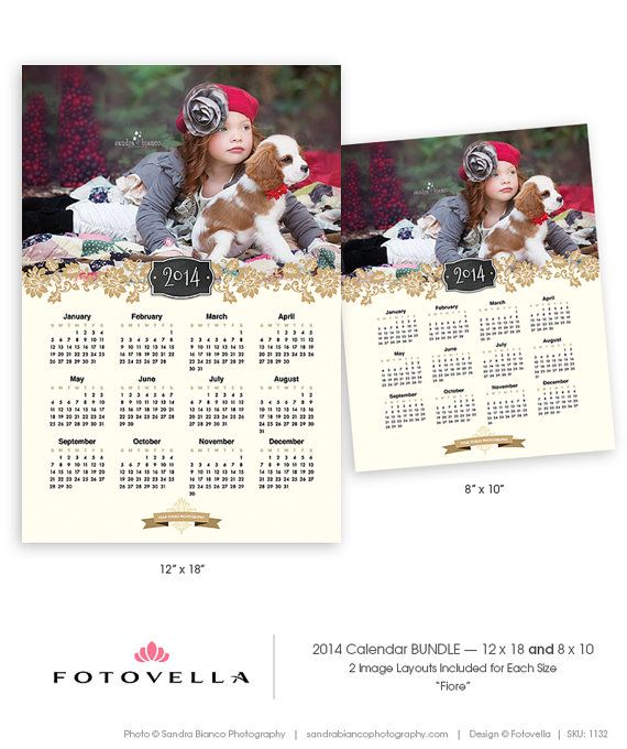 Fiore 2014 photo calendar template 8x10 12x18 bundle by fotovella featured images