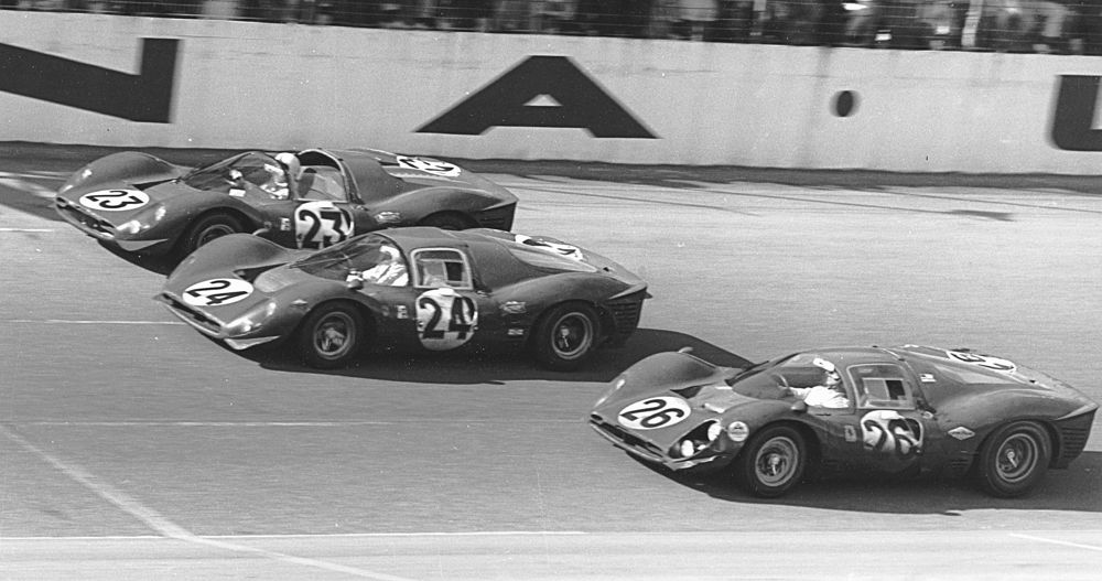 Three Ferrari 330 P4s Line Up To Cross The Finish Line Of The 1967