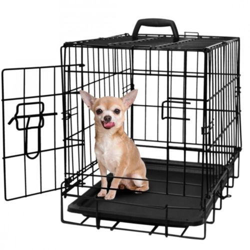 Metal Pet Cage Dog Cat Crate Door 20 Inch Black Indoor Security Fold Carry Train #MetalPetCageDogCatCrate