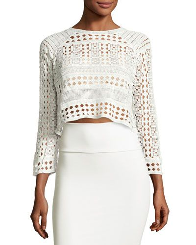 Native Plains Sheer-Lace Top, White