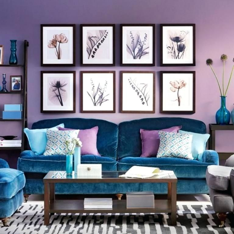 The Light Purple Walls Adapt Perfectly In The Romantic And Charming Setting Of This Livin Peacock Blue Living Room Living Room Color Schemes Purple Living Room