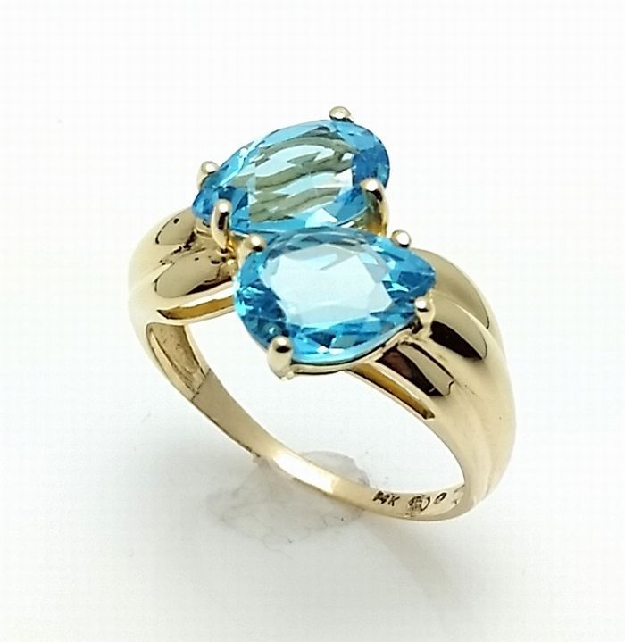 14K Solid Yellow Gold Swiss Blue Topaz Ring Two Pear Stones 2.50CT. #BlueTopazRing #TwoStone #Birthday