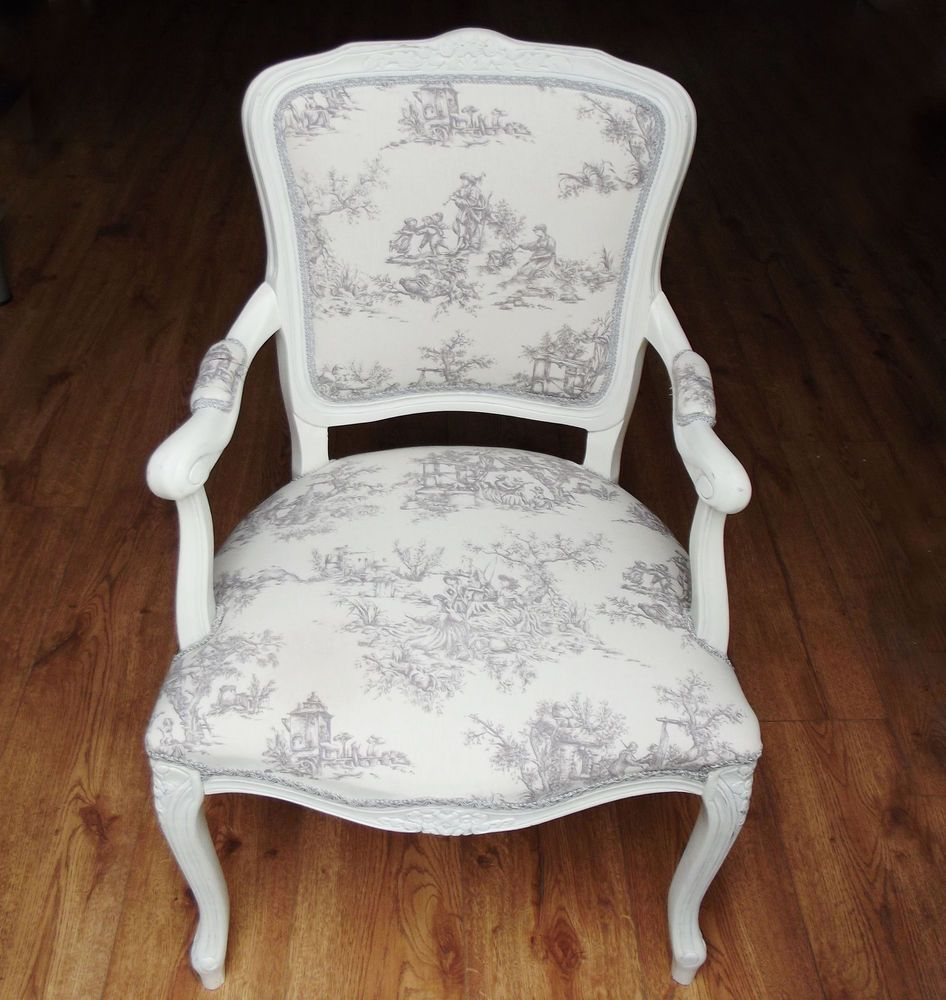 Toile De Jouy fabric upholstered vintage chair - Louis XV ...