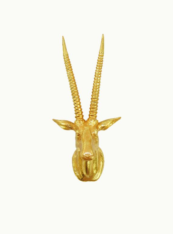 The Emery in Gold Leaf - Gold Leafed Gazelle Head w/Gold Antlers - Antelope Faux Taxidermy - Chic & Trendy